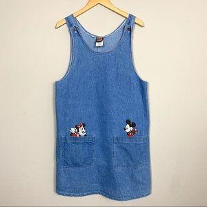 VTG DISNEY Mickey Unlimited Denim Overall Dress M
